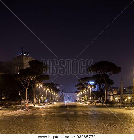 Via Dei Fori Imperiali In Rome At Night