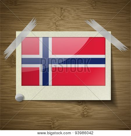 Flags Norway At Frame On Wooden Texture. Vector