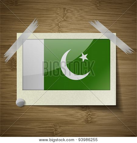 Flags Pakistan At Frame On Wooden Texture. Vector