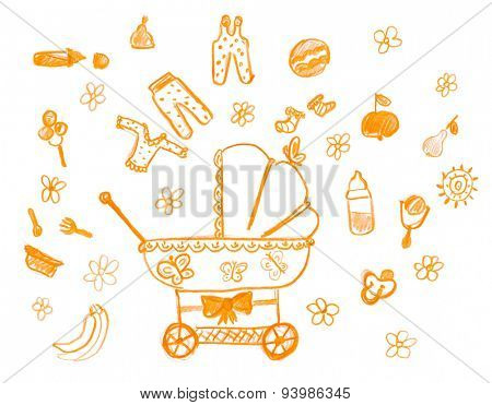 hand drawn childish object set. child drawing