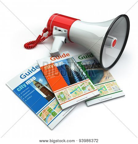 Travel guide books  and megaphone on white isolated background. Audioguide concept.