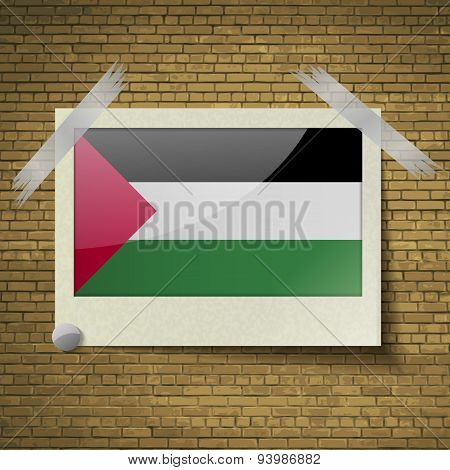 Flags Palestineat Frame On A Brick Background. Vector