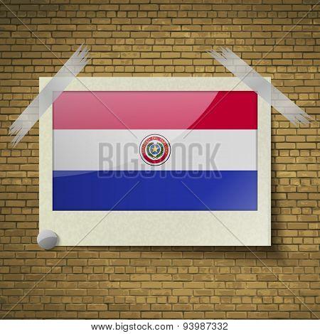 Flags Paraguayat Frame On A Brick Background. Vector