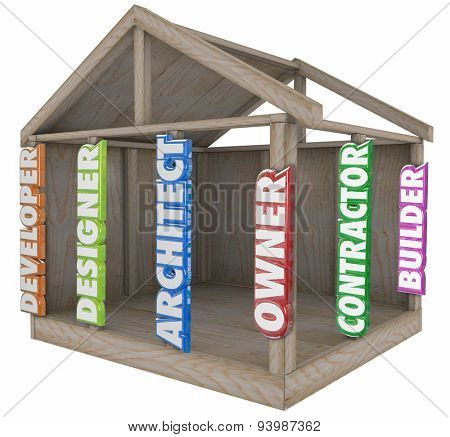 House or home wooden beams with 3d words of Architect, Designer, Developer, Builder, Contractor and Owner