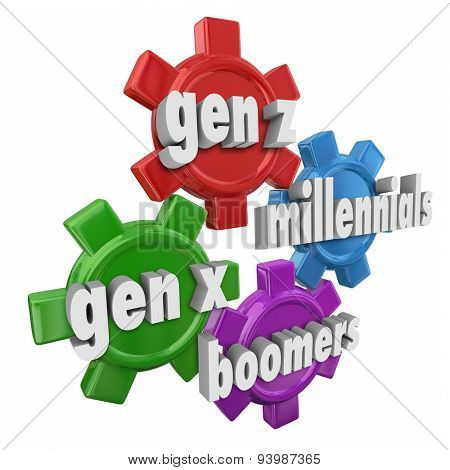 Generation X Y Z, Millennials and Boomers words in 3d letters on gears to illustrate different age demographics and customer markets