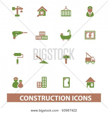 construction isolated icons, illustrations, vector