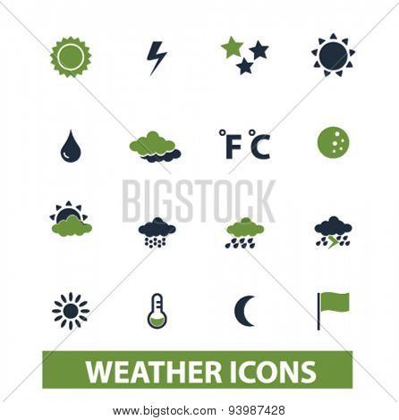 weather, climate isolated icons, illustrations, vector