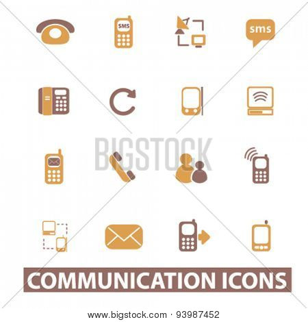 communication isolated icons, illustrations, vector
