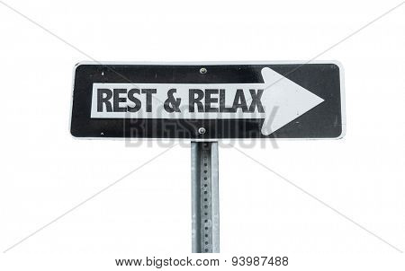 Rest & Relax direction sign isolated on white