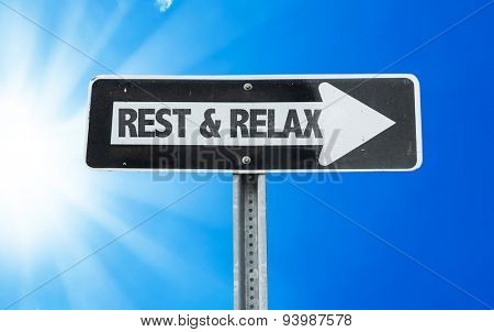 Rest & Relax direction sign with a beautiful day