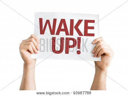 Wake Up! card isolated on white