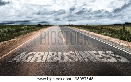 Agribusiness written on rural road