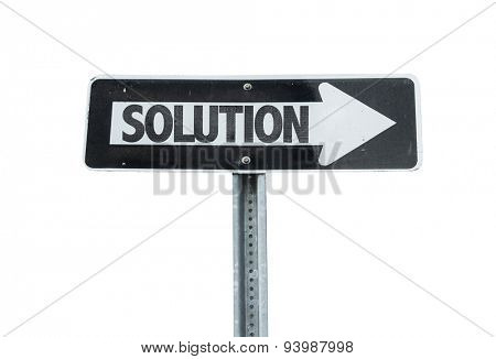Solution direction sign isolated on white