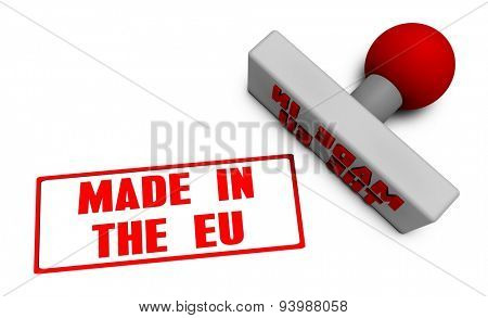 Made in the EU Stamp or Chop on Paper Concept in 3d