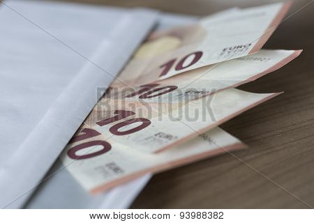 Euro Notes In An Envelope