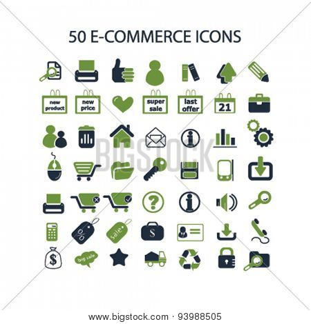 ecommerce, retail, shop isolated icons, illustrations, vector