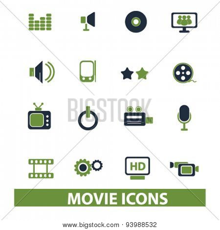 movie, cinema, film isolated icons, illustrations, vector