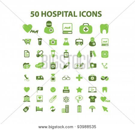 50 hospital, health care icons
