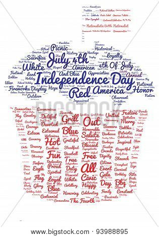 Tag cloud of 4th of july in the shape of cupcake