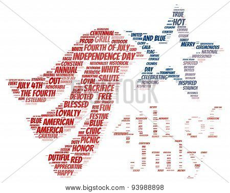 Tag cloud of 4th of july in the shape of