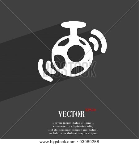 Mirror Ball Disco Icon Symbol Flat Modern Web Design With Long Shadow And Space For Your Text. Vecto