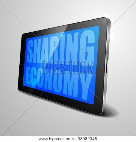 detailed illustration of a tablet computer device with Sharing Economy text, eps10 vector