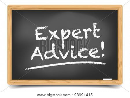 detailed illustration of a blackboard with Expert Advice text, eps10 vector, gradient mesh included