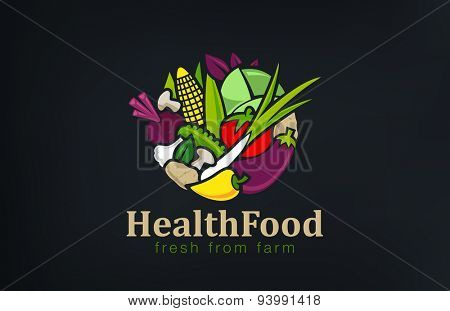 Vegetables mix Logo design vector template circle shape.Vegetarian food Logotype concept. Shop, Mar