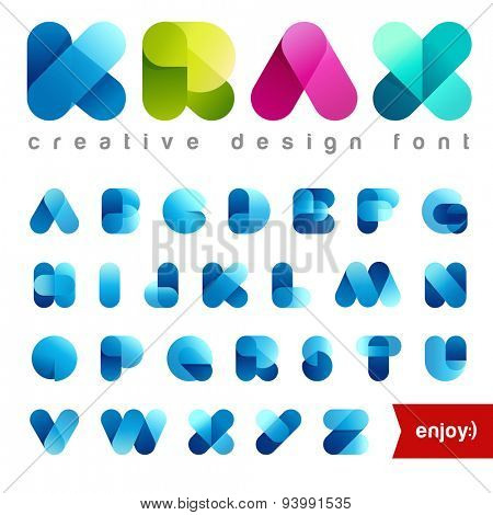 Rounded Transparent Font design vector editable. Friendly Alphabet.Creative abc. Use Letters for Lo