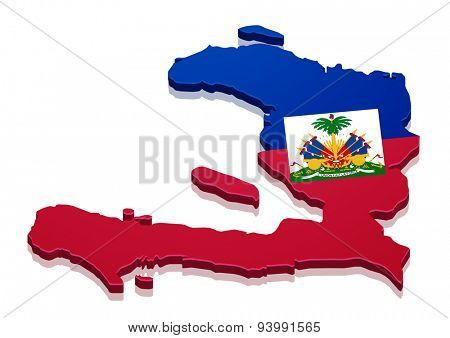 detailed illustration of a map of Haiti with flag, eps10 vector