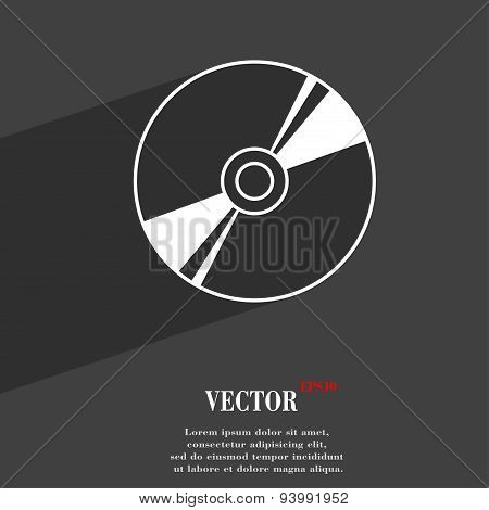Cd, Dvd, Compact Disk, Blue Ray Icon Symbol Flat Modern Web Design With Long Shadow And Space For Yo