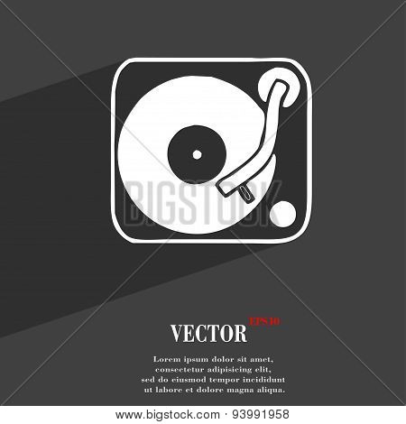 Gramophone, Vinyl Icon Symbol Flat Modern Web Design With Long Shadow And Space For Your Text. Vecto