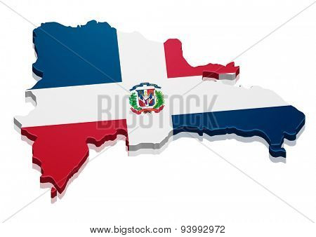 detailed illustration of a map of Dominican Republic with flag, eps10 vector