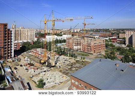 Construction of high-rise apartment brick building.