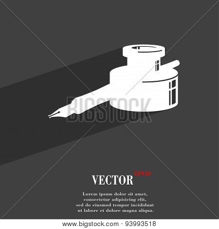 Pen And Ink Icon Symbol Flat Modern Web Design With Long Shadow And Space For Your Text. Vector