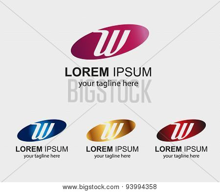 Abstract W letter logo design with elip icon