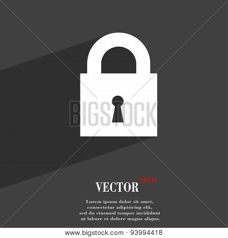 Closed Lock Icon Symbol Flat Modern Web Design With Long Shadow And Space For Your Text. Vector