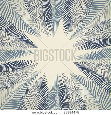 Hand drawn background of palm leaves