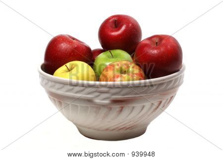Bowl Of Apples On White