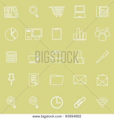 Office Line Icon On Yellow Background