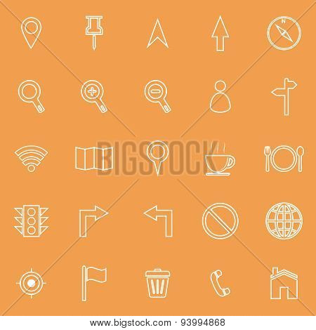 Map Line Icons On Orange Background