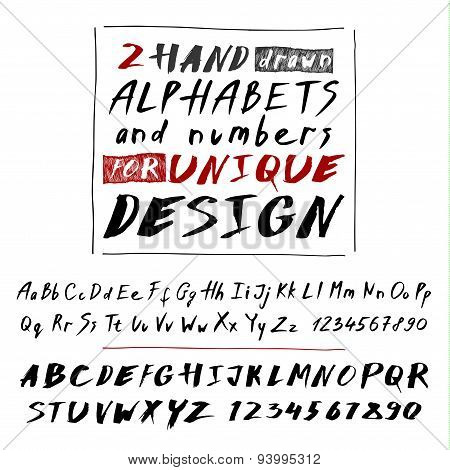 Hand drawn two fonts on white