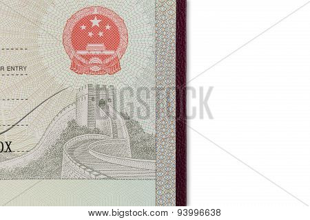 Detail Of Chinese Visa On White
