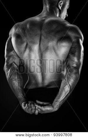Handsome Power Bodybuilder Showing His Back