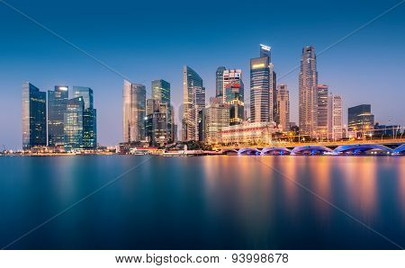 Urban view of the financial district in singapore at dusk
