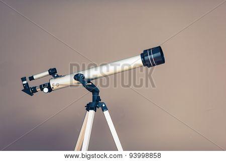 telescope on tripod, closeup view