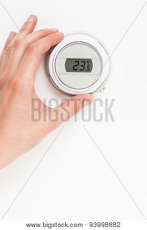digital climate thermostat controlling by hand