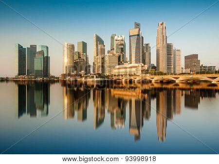 Reflection of Singapore Central Business District (CBD) in the morning.