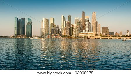 Panoramic view of Singapore Central Business District (CBD) in the morning.