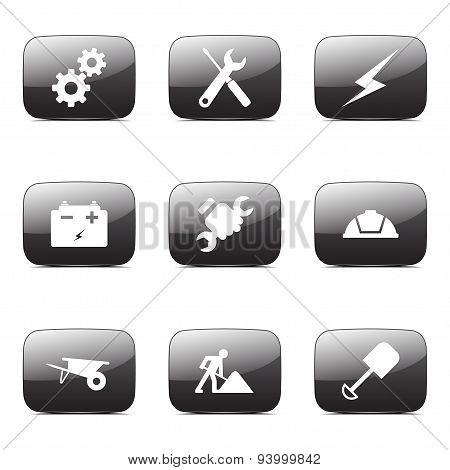 Construction Tools Square Vector Black Button Icon Design Set